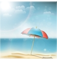 Summer day on ocean beach with umbrella vector image