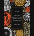 thanksgiving day dinner menu design on chalkboard vector image vector image