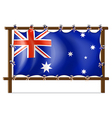 The flag of Australia attached to the wooden frame vector image vector image