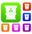 trashcan containing radioactive waste set color vector image vector image