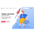 travel vacation flat landing page composition vector image