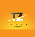 tz t z letter modern logo design with yellow vector image vector image