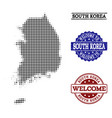 welcome collage of halftone map of south korea and vector image