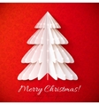 White origami Christmas tree greeting card vector image vector image