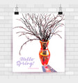 willow branches in vase vector image vector image