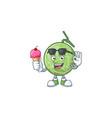 with ice cream melon cartoon mascot on white vector image vector image