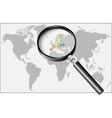 word europe under magnifier vector image