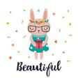 beautiful cute little bunny romantic card vector image