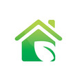 leaf house ecology logo vector image