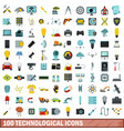 100 technological icons set flat style vector image vector image