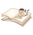 A book with an image of a boy reading vector image vector image