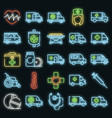 ambulance icons set neon vector image vector image