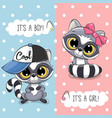 baby shower greeting card with cute raccoon vector image vector image