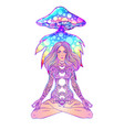 beautiful girl sitting in lotus position over vector image vector image