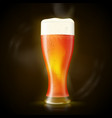 beer tall wet glass with bubbles and froth vector image