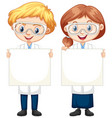 boy and girl holding blank paper vector image vector image
