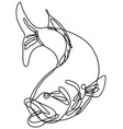 bucketmouth bass jumping down continuous line vector image
