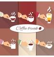 Business hands offering hot coffee drinks vector image vector image
