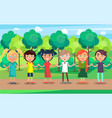 children line with holding hands on park path vector image vector image
