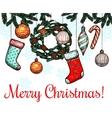 Christmas New Year winter holidays greeting card vector image vector image