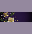 christmas purple banner background of gold gifts vector image vector image
