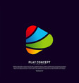 colorful play logo design concept play logo vector image vector image