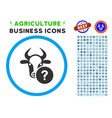 cow unknown status rounded icon with set vector image vector image