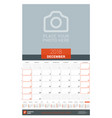 december 2018 wall monthly calendar planner for vector image vector image