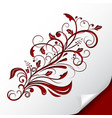 decorative floral branch embossed red ornamental vector image vector image