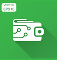 digital wallet icon in flat style crypto bag with vector image vector image
