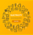 electricity signs round design template thin line vector image