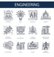 engineering icons for construction building or vector image vector image