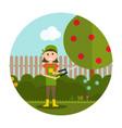 garden background farmer vector image vector image