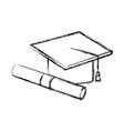 graduation cap diploma certificate school vector image vector image