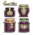 grape jam in glass jars vector image vector image