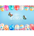 happy easter day with butterfly background vector image vector image