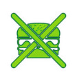 no burger sign lemon scribble icon on vector image vector image