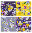 Pansy Flowers Background Set - Seamless Pattern vector image vector image