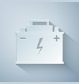 paper cut car battery icon isolated on grey vector image vector image