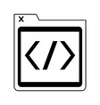 programmer code window symbol in black and white vector image vector image