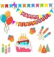 retro birthday celebration design elements vector image