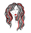 sad woman with beautiful hair and red lips vector image