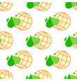 seamless pattern with green plant and globe vector image