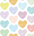 Seamless pattern with sketch hearts on a white vector image