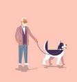 senior man walking with husky dog grandfather vector image