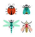 set with cartoon funny insects isolated on white vector image