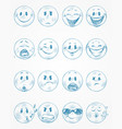 sixteen blue faces vector image