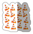sticker colorful realistic pattern traffic cone vector image