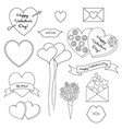 valentines digital stamps vector image vector image