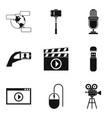 video fragment icons set simple style vector image vector image